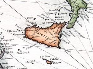 oude kaart Sicilie